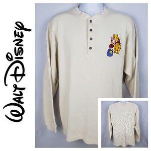 Disney Store Men's XL Oatmeal Thermal Henley LS
